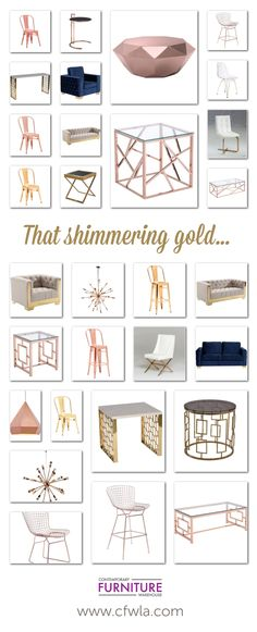 Gold, Rose Gold, Copper, Warm Metallic Hues. Coffee Tables, Arm Chairs, Dining Chairs, Bar Chairs, Lamps, Bowls, Trays, Home Decor and much more.