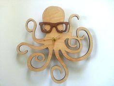 Handmade Wood Clocks | Octopus with Glasses Clock Handmade Laser Cut by UnpossibleCuts, $44 ...