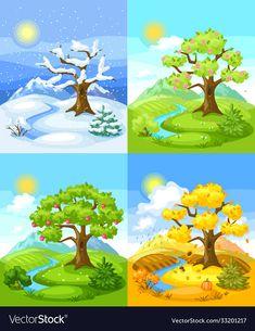 Four Seasons Art, Seasons Of The Year, Flower Background Wallpaper, Flower Backgrounds, Montessori Activities, Book Activities, School Behavior Chart, Baby Zoo Animals, English Activities