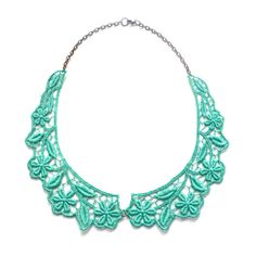 Collar Necklace in Teal Green Peter Pan Bib