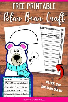 This adorable Free Printable Polar Bear Craftivity is perfect for cold winter days! Children can practice their cutting and pasting skills by building the paper character first and then write about their friend the Polar Bear! Once completed, this Polar Bear craft would look awesome displayed on the wall or bulletin board.