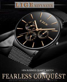 Mens Watches LIGE Top Brand Luxury Waterproof Ultra Thin Date Clock Male Steel Strap Casual Quartz Watch Men Sports Wrist Watch - AliexOkazje. Cold Shower, Simple Man, Wearable Device, Diy Accessories, Watches For Men, Clock, Steel, Luxury, Stuff To Buy