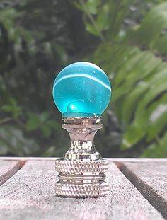 Lamp Finial Aqua Blue Green White Swirls Glass Marble Nickel Finial Custom Lamp Shade Small Finials Marble Beach Finial Handmade Custom by VeroLampshades on Etsy