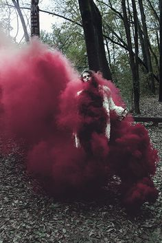 Katarína Támová - Rouge - Fille - Forêt - Fumée