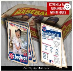 Cubs Baseball With photo Trading cards Vintage Chicago Cubs Themed Baseball Birthday Trading CardsChicago Cubs Themed Baseball Birthday Trading Cards Baseball Birthday Invitations, Baseball Theme Birthday, Sports Birthday, Boy Birthday Parties, Sports Party, Theme Parties, Chicago Cubs Baseball, Baseball Teams, Baseball Boys