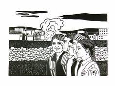 Women #2, women, girls fighters, YPJ, Kobane, syria, kurds, linocut, print, hand-pulled, black & white, Ellen Von Wiegand