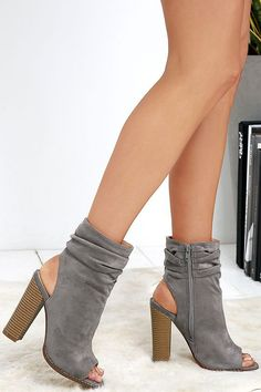 Only the Latest Grey Suede Peep-Toe Booties Chic Grey Booties - Peep-Toe Booties - Vegan Suede Booties Grey Booties, Suede Booties, Bootie Boots, Peep Toes, Open Toe Boots, Peep Toe Ankle Boots, Cute Boots, Dream Shoes, Me Too Shoes