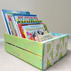 Cute way to organize picture books of various sizes, in a bright crate! Get the tutorial at Mod Podge Rocks.
