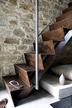 Stairs rustic design - steel/ rough stone wall