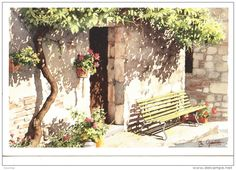Le Banc - aquarelle de Christian Graniou (aquarupella n°1546)                                                                                                                                                                                 Plus