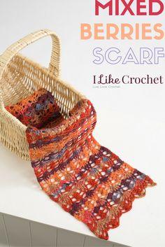 Mixed Berries Scarf - This gorgeous scarf is worked in an easy berries pattern which is a variation of the classic pineapple pattern. You'll love how the colors pop when you wear it with your favorite sweater. From I Like Crochet's October 2014 issue Crochet Cap, Crochet Scarves, Crochet Shawl, Diy Crochet, Crochet Clothes, Crochet Ideas, Crocheted Scarf, Crochet Projects, Crochet Magazine