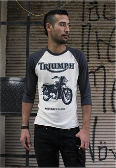 Retro Motorcycle Baseball Tshirt, Unisex / Mens 3/4 sleeve Raglan T Shirt. $33.00, via Etsy.
