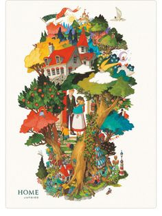 Junaida from Kyoto, Japan....one of my favor Japanese artist! This Tree Houses was printed on the Christmas poster of famous Mitsukoshi department store.