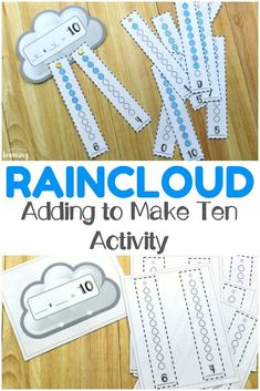 Work on adding to ten with your early learners with this fun raincloud make ten activity! This is awesome for spring math centers! Subtraction Activities, Kindergarten Math Activities, Kids Learning Activities, Homeschool Math, Fun Math, Curriculum, Homeschooling, Math Math, Steam Activities