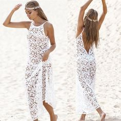 b91734faac 2015 Sexy Women Lace Beach Bohemian Summer Bikini Cover Up Crewneck  Sleeveless Maxi Long Dress