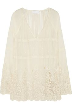Zimmermann|Keeper lace-trimmed embroidered cotton coverup |NET-A-PORTER.COM
