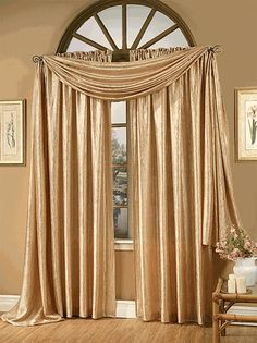Whisper Crushed Semi Sheer Curtains - Gold - Renaissance - View All Curtains