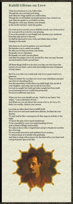 On Love - A poem by Kahlil Gibran, at: www.katsandogz.co...
