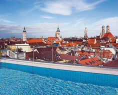 The world's best hotel pools -   Mandarin Oriental, Munich -   Survey historic Munich in all its splendour from the eighth-floor heated rooftop pool at the 73-room Mandarin Oriental Munich.