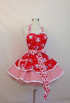 Vintage Red Heart Child Doll Bib Apron with pocket and lace Valentine