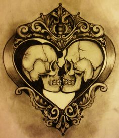 Kissing skulls through a color filter.
