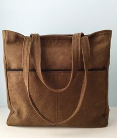 Large Tote Book Bag Knitting Bag Travel Tote Plaid with Faux Suede ...
