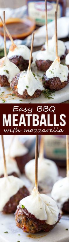 Smoked Hickory Meatball Skewers with Mozzarella #ad  #SauceFaced