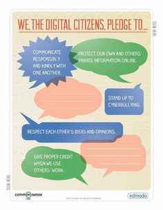 Free Technology for Teachers: A Digital Citizenship Guide from Edmodo and Common Sense Media - This would be great to put up in the classroom and to help the class come up with some good netiquette rules and goals for their own pledge. Teaching Technology, Technology Integration, Educational Technology, Technology Websites, Teaching Computers, Technology Lessons, Technology Tools, Business Technology, Digital Citizenship Posters