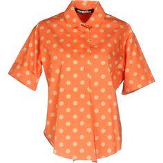 Jeremy Scott Shirt (€130) ❤ liked on Polyvore featuring tops, orange, red short sleeve shirt, polka dot top, short sleeve tops, shirt top and red polka dot top