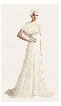 Bride -printed silk gown #fashion #luxury #style #illustration #vintage #mywork #sparkling #wedding #dress #marriage #bridal #white #modestbride