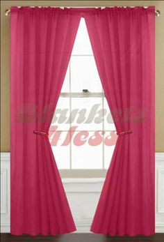 "Fuschia Pink Solid 1 Sheer Window Curtain Panel by Awad. $7.99. Each Panel Size: 60""Wx84""L - 1 Panels. Material: Polyester. Note: Listing is for 1 Panel only, No Rod etc Included.. Rod Pocket Fits Rod Size 1 ½ Inch. Washing Care: Machine Wash in cold water, gentle cycle, do not bleach, tumble dry. Beautiful Solid Color 1 Sheer Window Curtain Panel."