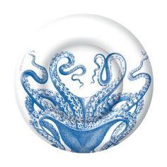 Caspari Lucy Blue Octopus Cocktail or Tea Napkins paper 25 cm square 20 in pack