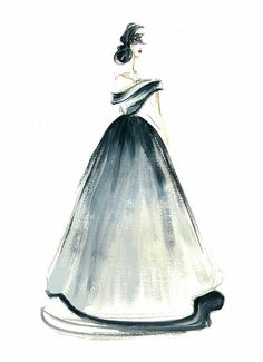 Fashion sketch, Fashion watercolor, Fashion art, Fashion painting, Black wall art, Fashion girl, Princess art, Gown painting, Dress sketch