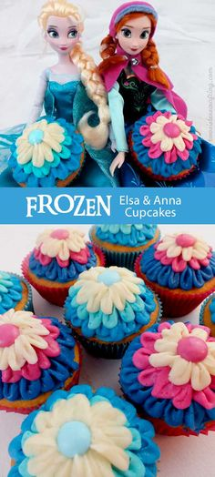 These Frozen Elsa & Anna Cupcakes will be a hit at your Frozen Birthday party. So gorgeous, so delicious and easier to make than you might think. We have all the directions you'll need to wow the Frozen Princess fans at your party. For more great Frozen Party Ideas follow us at https://www.pinterest.com/2SistersCraft/