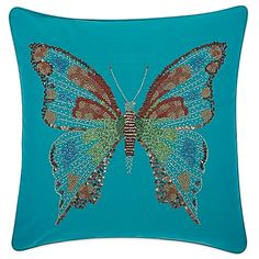 Mina Victory Butterfly 18 Inch Square Outdoor Throw Pillow