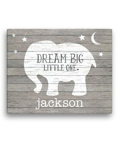 "Gray Elephant 'Dream Big Little One' wall sign: could make with pallets. Sign for baby room. Sign for kid room . Could do ""Dream Big. Little Girl, Little Boy. Baby Girl, Baby Boy, etc"" Personalized Canvas Elephant Canvas, Grey Elephant, Elephant Nursery Boy, Elephant Baby Decor, Baby Canvas, Elephant Stuff, Canvas Art, Elephant Shower, Elephant Design"