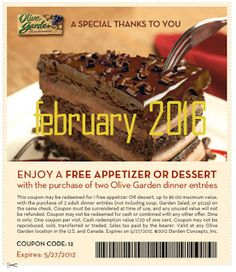 Free Printable Coupons: Olive Garden Coupons