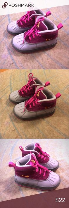 Girls Nike ACG Grey, Burgundy, & Pink Toddler ACGs with neon orange check. The color scheme really makes this a super fly pair! Nike Shoes Sneakers