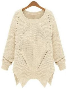 Apricot Long Sleeve Hollow Asymmetrical Sweater pictures