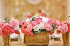 pink gold and blush wedding flowers, pink floral arrangements, peony arrangements, Lady Liberty Events