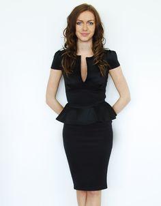 Plunge Neck Cap Sleeve Peplum Midi Dress in Black £ 14.95 #chiarafashion #chiarawin