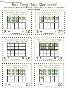 How Many More Shamrocks - Common Core - This is a packet that includes four different games all aligned with the Common Core. Each game can be played 3 different ways. The games in this packet include:  #1 How Many More to 10  -#2 How Many More to 20  -#3 Identifying numbers to 20 (using a ten frame)  -#4 Greater Than/Less Than numbers to 10