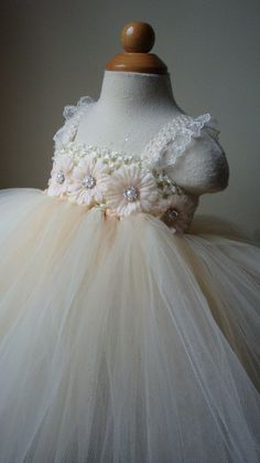 Lillian... Flower girl dress Champagne and ivory tutu by Theprincessandthebou, $74.00
