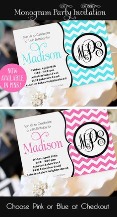 Monogram Party Invitation Printable Teen by AmandasPartiesToGo, $14.00