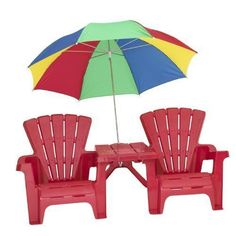 "•2 traditional chairs •Connecting table •38"" umbrella •Used together or separately •42 lb weight limit per child"
