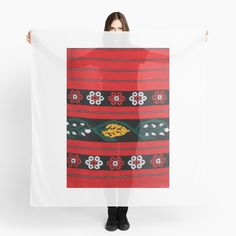 'Traditional folk costume' Scarf by StefaniaAlina Folk Costume, Costumes, Chiffon Tops, Fashion Looks, Traditional, Art Prints, Printed, Awesome, Flowers