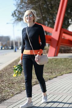 Colorblock Sweater Has Athleisure Vibe