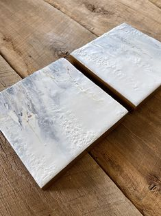 """Original encaustic paintings by Tamara Lepianka. This is a set of two 6x6 inch paintings. Encaustic and mixed media on wood panel with a .75"""" cradle. The edges are finished in a light brown pigmented shellac as shown. The paintings are wired and ready to hang. 6 x 6 x .75 in 