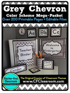 GREY CHEVRON  Classroom Decor Color Scheme Packet EDITABLE  - 200+ pages - Perfect for ANY elementary classroom! With purchase you receive word wall cards, tags, labels, birthday poster, hundred chart, welcome banner, and MUCH MORE! Click through to see it all! $