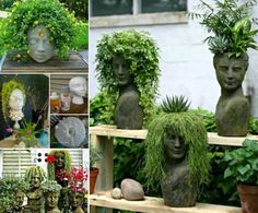 Head Planters...tutorial for making your own head planters..AWESOME!!